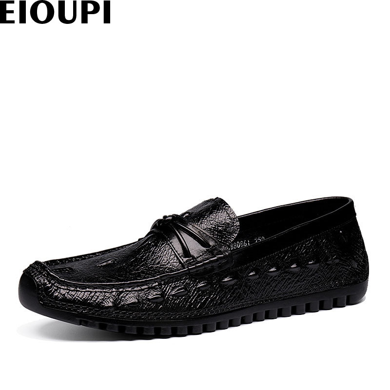 EIOUPI new design real soft crocodile grain leather breathable mens fashion business casual shoe men loafers shoes e80861 100cm creative slim diy mesh bag for cosmetic makeup brush 12290