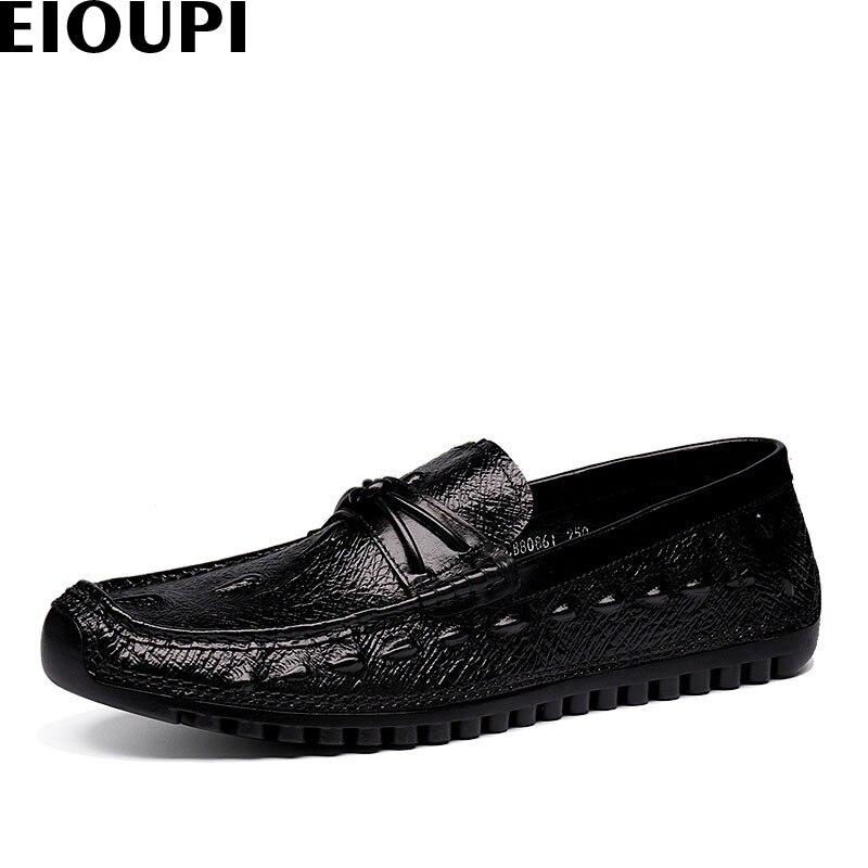 Moda Nuevo De Hombres Transpirable E80861 Eioupi Grano 1 Casuales Diseño Cuero Suave 2 Mocasines Real Negocios Zapatos Cocodrilo vwIAdq