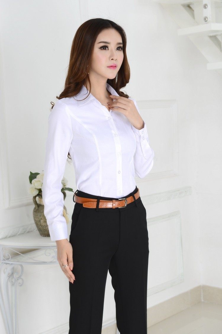 Formal Female White Shirts Women Work Blouses 2015 Autumn Ladies ...