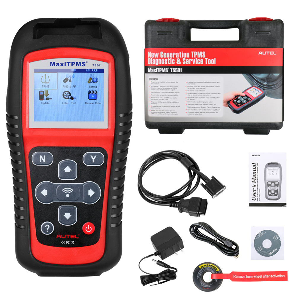 AUTEL MaxiTPMS TS501 With OBD2 Adapters TPMS Diagnostic Tool Service 433.92 MHz and 309MHz signals Receives 315 MHz,
