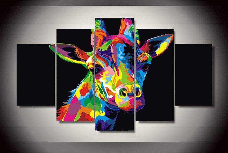 HD Printed Colorful Giraffe Painting Canvas Print Room