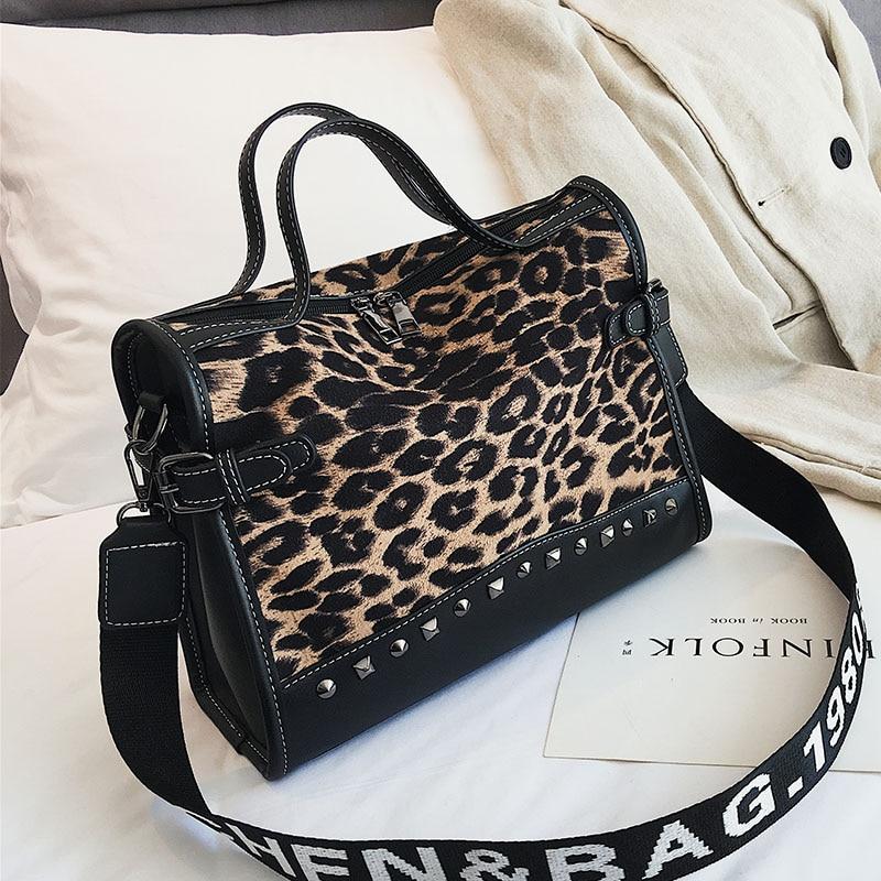 0a79570bcff0 Online Shop Leopard totes Rivet Fashion handbags Women Scrub shoulder bag  2018 two Shoulder strap crossbody bag zipper High capacity handbag