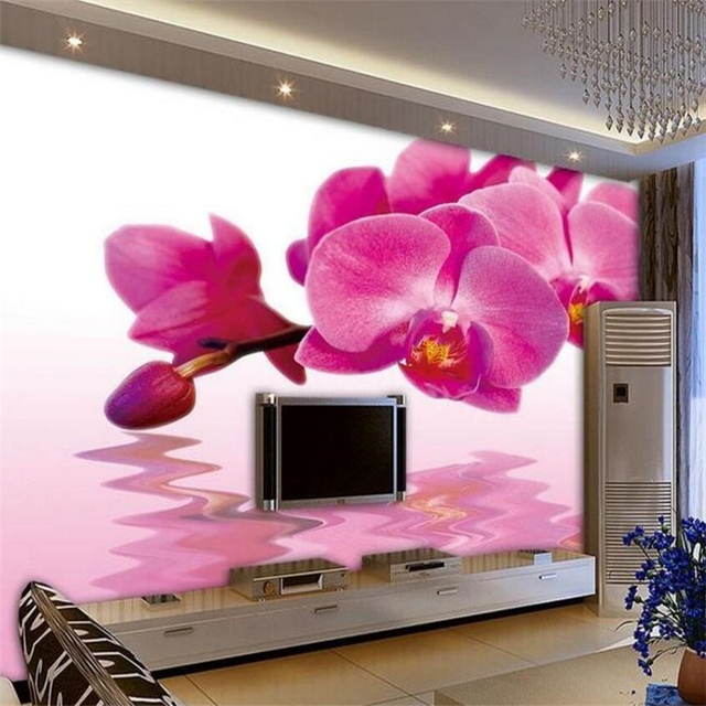 Beibehang Custom Wallpaper Butterfly Orchids Water Flower 3d Living Room For Walls 3 D