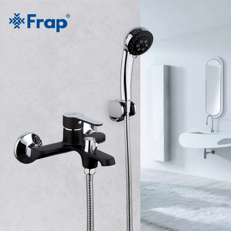 Frap Black Bathroom Shower Brass Chrome Wall Mounted Shower Faucet Shower Head sets black F3242 new promotion bathroom wall mounted shower faucet adjustable height 8 plastic head shower chrome