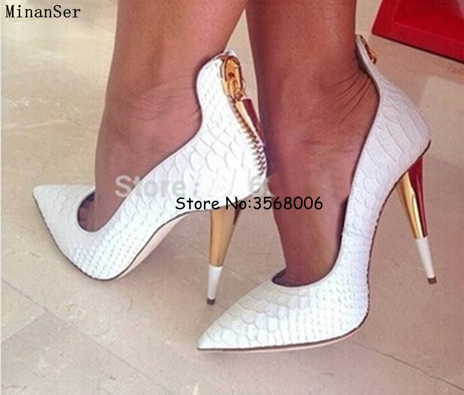 White Black Crocodile Leather Thin High Heels Shoes Sexy Pointed Toe Stiletto Pumps Shoes Zipper Girls