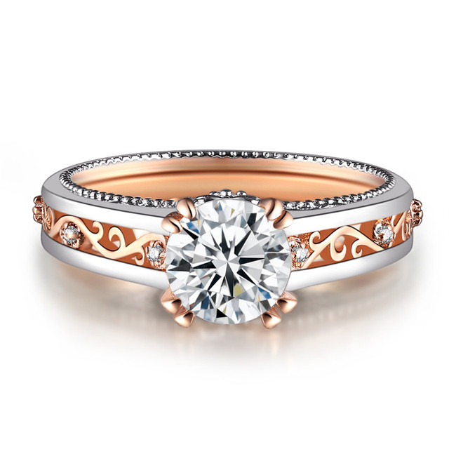 23f4e690c88f ROXI Vintage oro rosa plata Color anillos para las mujeres CZ flor anillo  de boda