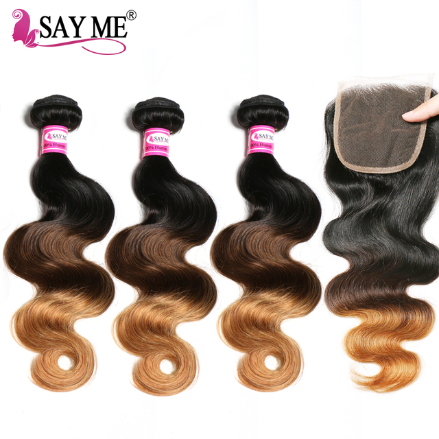 Ombre Brazilian Human Hair Weave 3 Bundles Body Wave With Closure 1b/4/30 4x4 Free Part Blonde Lace Closure 3 Tone Remy SAY ME