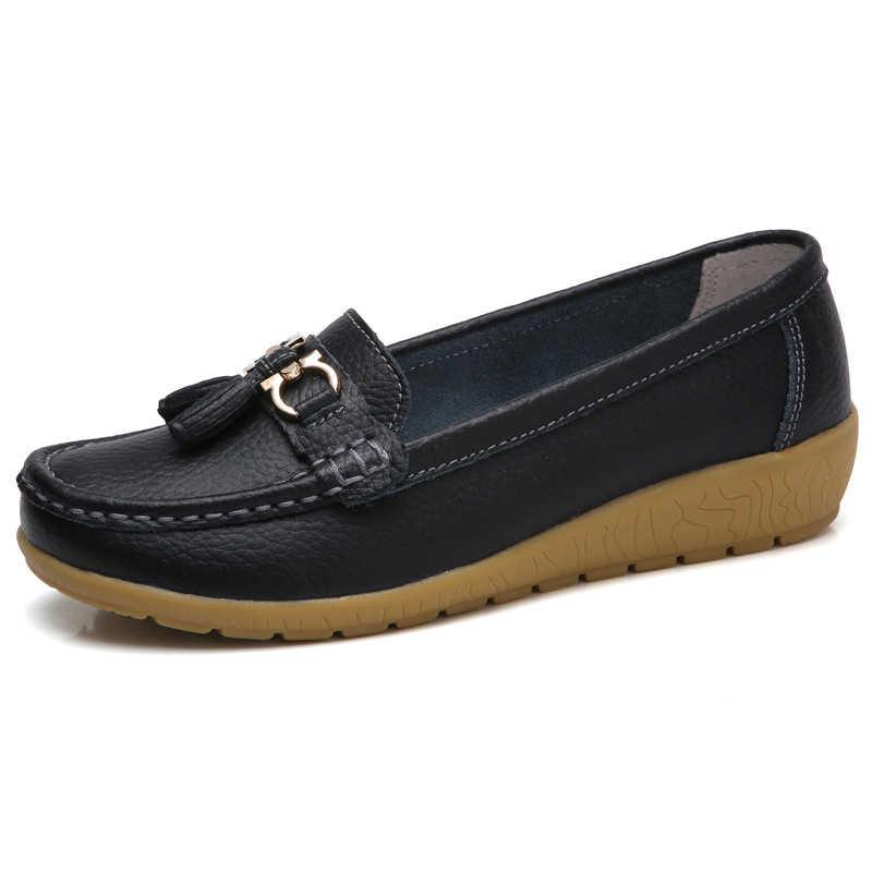 KUIDFAR 2018 Sommer Echtem Leder Frauen Casual Schuhe 2018 Mode Atmungs Slip-auf Peas Massage Flache Schuhe