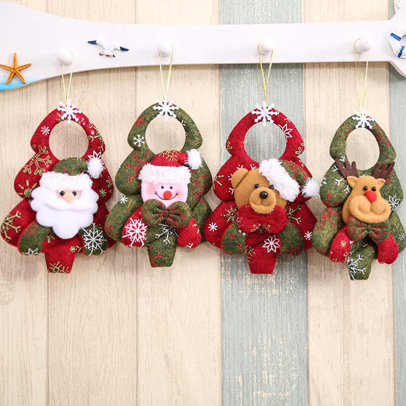 Christmas Tree Pendant Santa Door Window Hanging Ornaments Christmas Decoration Festival Gift Supplies