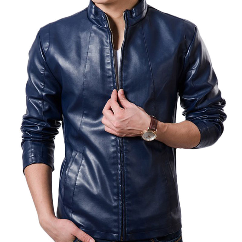 Cool Design Red Pu Leather Jacket Men 2016 New Autumn Winter Jacket