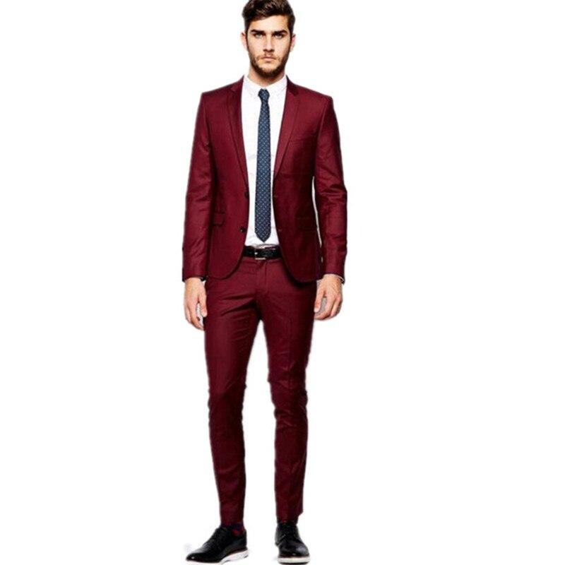 Costume pour hommes personnalisé rouge gap costume d'affaires costume de marié de mariage formel pour hommes chemise et pantalon personnalisés