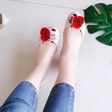 Mini Melissa Rose Flower 2019 Summer Woman Jelly Sandals Shoes For Girls Women Pink/Black/Yellow