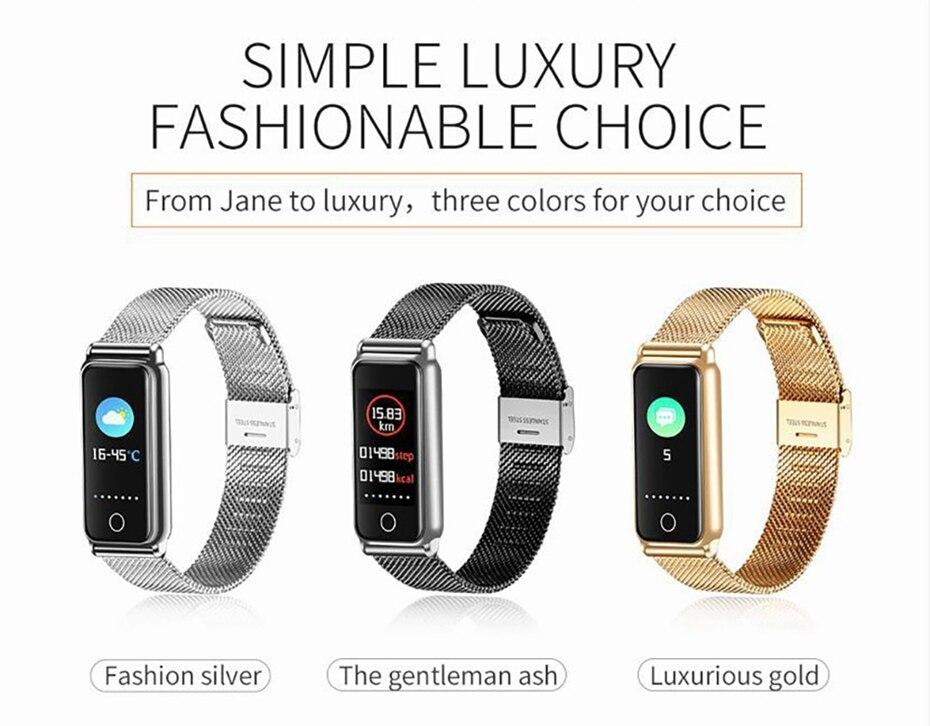 Y8 Smart Watch Stainless Steel Women Sports Touch Screen Health Bracelet Ons Men Fitness Bracelet for Measuring Pressure Fitness 2018 2019 (3)