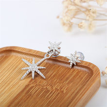 TIFF APM 925 Sterling Silver Stud Earrings with Zircon, Meteor Asymmetrical Earrings, Stylish and Elegant ladies jewellery.(China)
