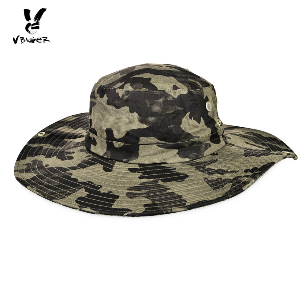 VBIGER Unisex Bucket Hat Sun Bonnie Easy-matching Fisherman Hat Camouflage  Bucket Hat With Big Brim And String 07bd35fde13
