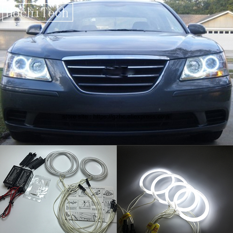 HochiTech For Hyundai Sonata NF Transform 2008-10 Ultra Bright Day Light DRL CCFL Angel Eyes Demon Eyes Kit Warm White Halo Ring for hyundai sonata nf front oxygen sensor 39210 25300