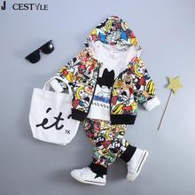 JOCESTYLE 3 Pcs Mode Enfants Enfants Casual Vêtements Ensemble À Capuche Chemise de Bande Dessinée Imprimé Manteau + Pantalon Outfit Set Pour L'automne hiver