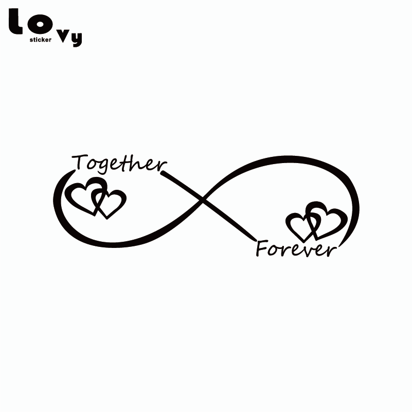 Together Forever Car Sticker Creative Heart Shape Vinyl Car Decal For Car Body Decoration