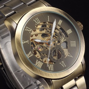 Image 4 - SHENHUA Luxury Brand Bronze Men Skeleton Mechanical Watches Male Clock Stainless Steel Strap Fashion Casual Automatic Watch