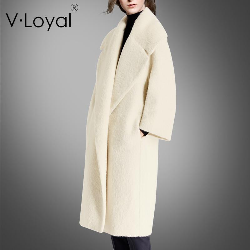 Nouvelles modes d'hiver et d'automne, laine d'alpaga, manteau en cachemire, revers et manteau de fourrure
