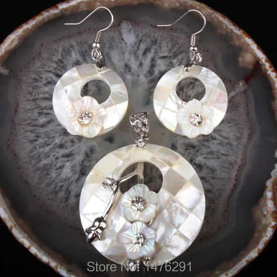 Charm White Mother of Pearl Shell Donut Beads Flower Pendant & Earrings 1 Set