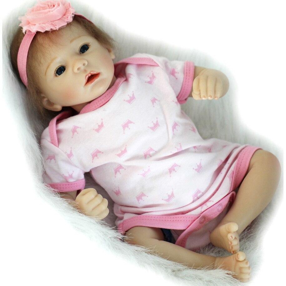 45 cm Adora Girl Baby Doll Silicone Reborn Doll Realistic Bebe Dolls Soft Body Blue Eyes Children Toys Brinquedos кукла adora baby doll 20 classic snow white
