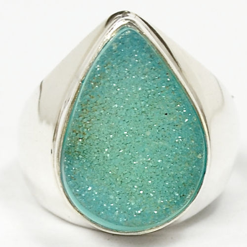 Hand make Genuine Agate Druzy Ring, 100% 925 Sterling Silver, Size :8.75, 9.3g, AR0010