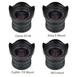 12mm f2.0 super szeroki kąt APS-C Metal obiektyw z ręczną regulacją ostrości do kamery bez lusterek