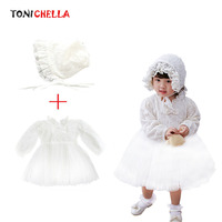 2Pcs Kids Girl Dress Princess With Hat Floral Baby Wedding Party Clothes First Birthday Communion Clothing Ball Gown Set CL5129
