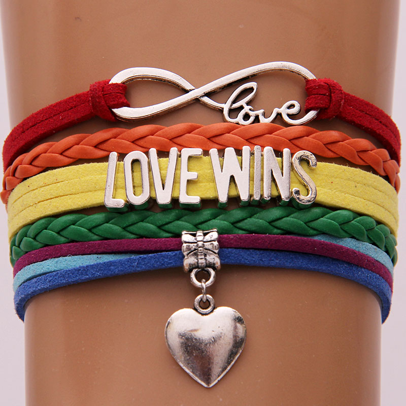 Infinity Love Wins Bracelets Leather Wrap Rope Bracelet