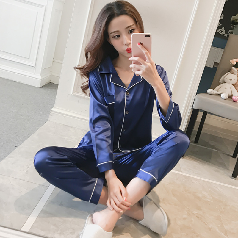 Women's Sleepwear Female Pocket Decor Silk   Pajamas   For Women Turn-down Collar Satin   Pajamas     Sets   Long Sleeves Modis Nightgown