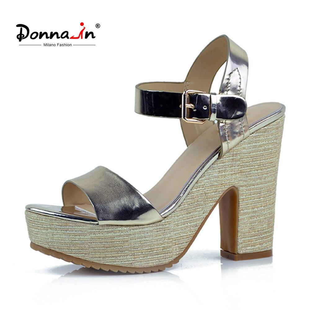 Donna-in Women Sandals Genuine Leather Sandals Platform High Heels Wedge Sandals Ladies Shoes 2018 Summer Sandals For Women sandals mandel sandals