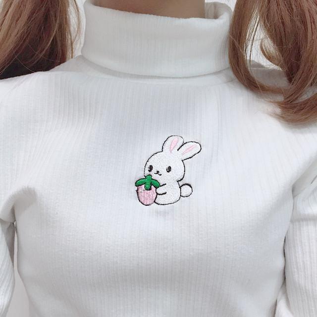 Kawaii Acrylic Sweatshirt with Turtleneck
