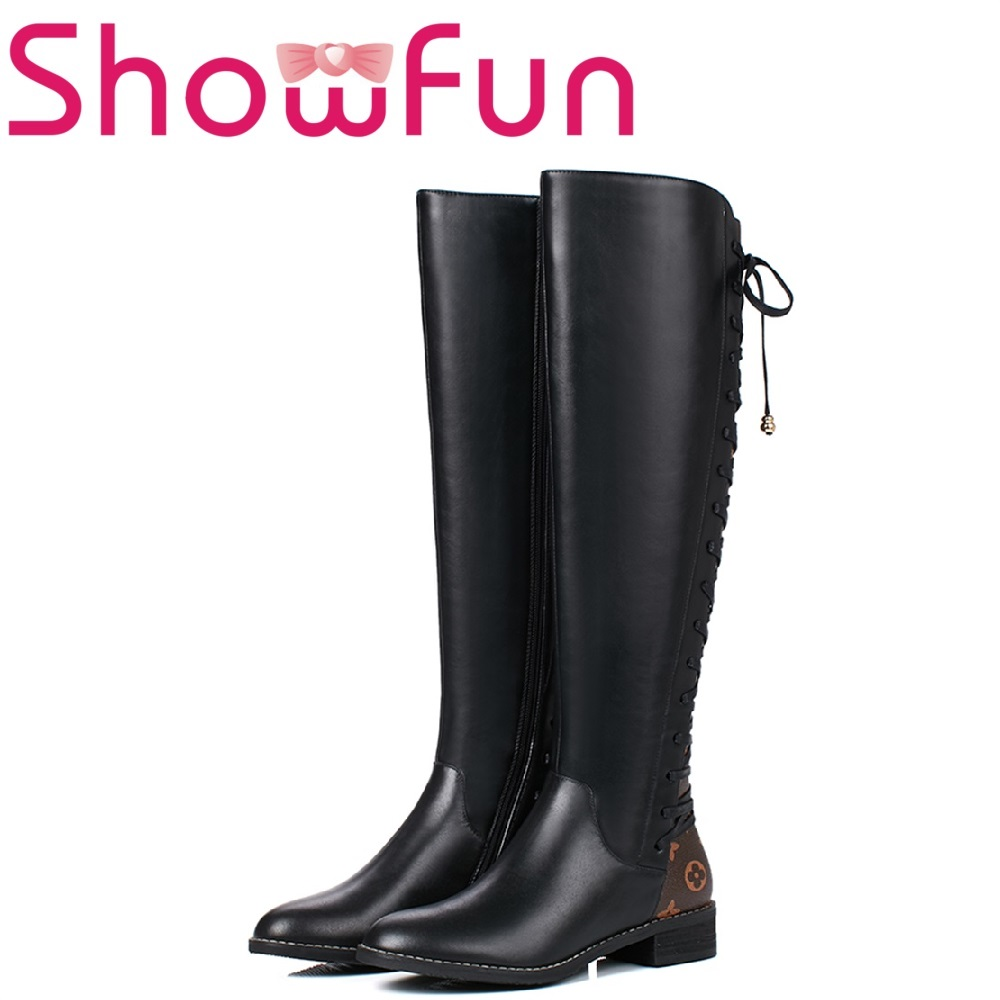 Showfun genuine leather shoes woman winter solid knee-high round toe lace-up square heel boots цены онлайн
