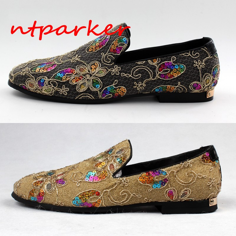 Shinny Embroidery Man Loafers Shoes Slip on Single Solid Flats Breathable Summer Spring Driving Boats Genuine leather Handmade amaginmni brand summer spring breathable genuine leather flats loafers men shoes casual shoes luxury fashion slip on driving