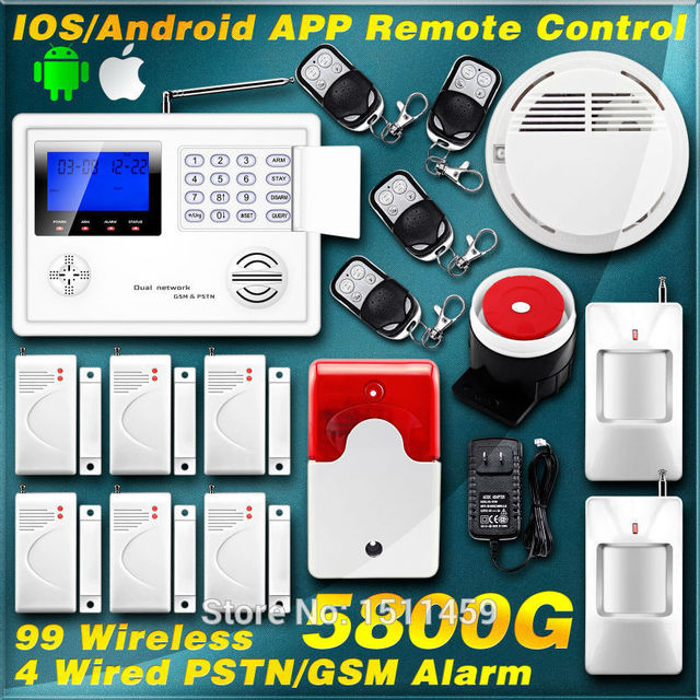 KERUI IOS/Android APP Wireless Wired Zone GSM PSTN Home Secur ...