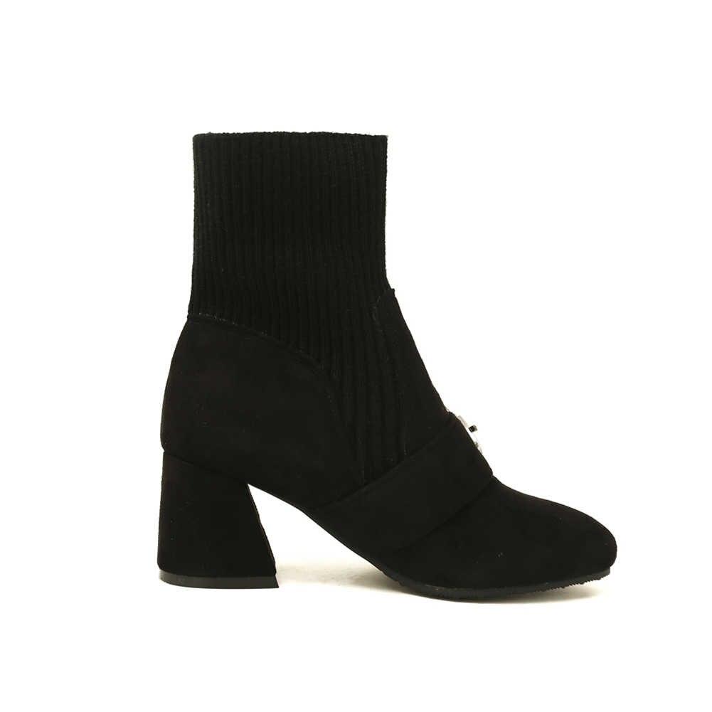 DoraTasia 2019 אביב סתיו Dropship 32-46 נשים גרב קרסול מגפי גבירותיי אלגנטי אבזם למתוח מגפיים גבוהה עקבים נעליים אישה