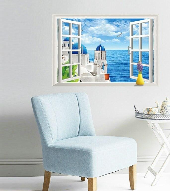 Пейзаж гель Стикеры реалистичным 3D стерео чувство украшением кровать накладные Гостиная окна плакат дети Стекло отвечал