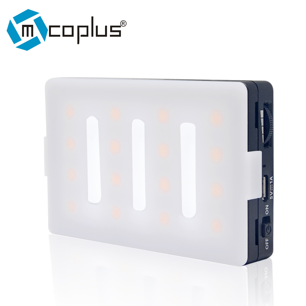 Mcoplus Pocket Size Rechargeable LED Video Fill Light CRI TLCI 95 CTO CTB Gel Filter for