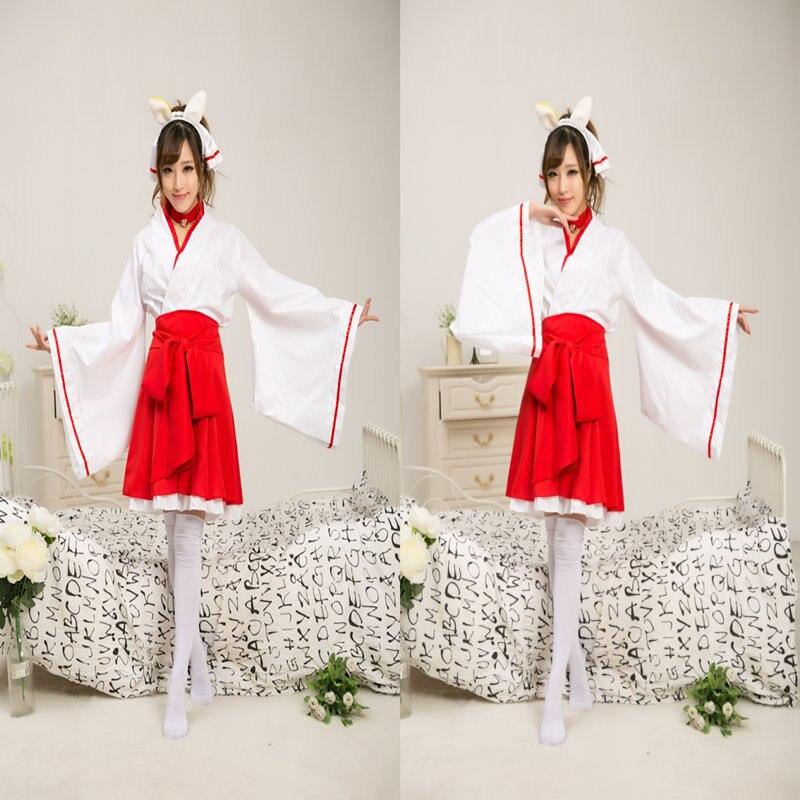 21325ad49ad Аниме Косплэй ину х Boku SS секретная Услуги Shirakiin Ririchiyo Косплэй  костюм Атавистическая Мико жрица Кимоно