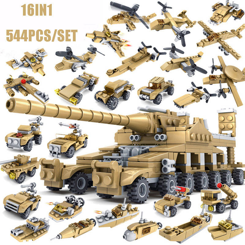 16IN1 WW2 German Classic Military Tank Dora Gun Heavy Gustav Gun Tank Fighter Model Building Blocks Bricks Toys For Kids Gifts kaygoo building blocks aircraft airplane ship bus tank police city military carrier 8 in 1 model kids toys best kids xmas gifts
