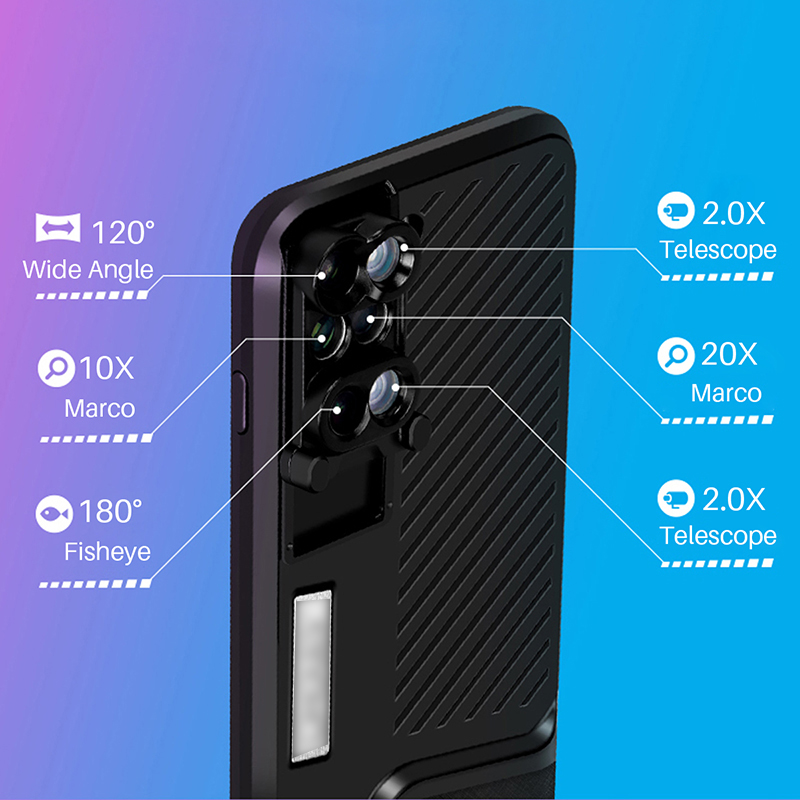 Mobile phone Case For iPhone X 10 Dual Camera Lens 6 in 1 Fisheye Wide Angle Macro Lens For iPhone 7 8 plus Telescope Zoom Lens