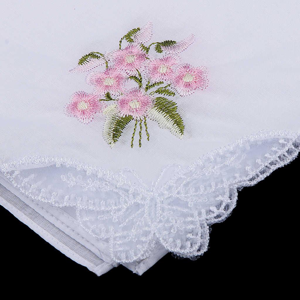 12 PCS Flower Embroidery Lace 100% Cotton Handkerchiefs for Women Ladies White Comfy Pocket Floral Hanky for Women