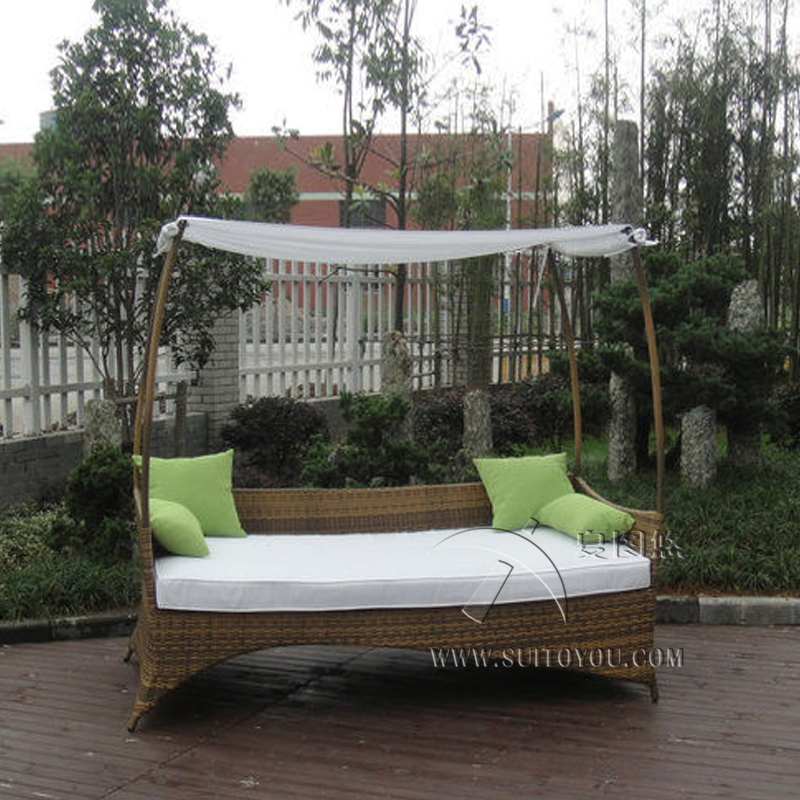 Outdoor Swimming Pool Wicker Daybed With Long Pillow sun lounger to sea port by sea