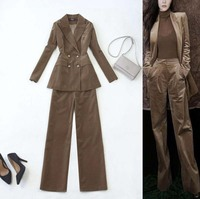 Women 2 Piece Sets Velvet Casual Blazer Pants Office Lady Jacket Pant Suits Korean Suit Femme