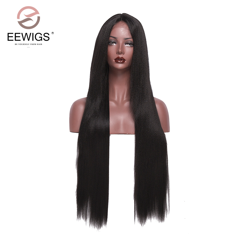 32 inch Synthetic Lace Front Wigs for Women Long Black Silky Straight Lady's Wig Full Hairstyle Glueless Heat Resistant Fiber