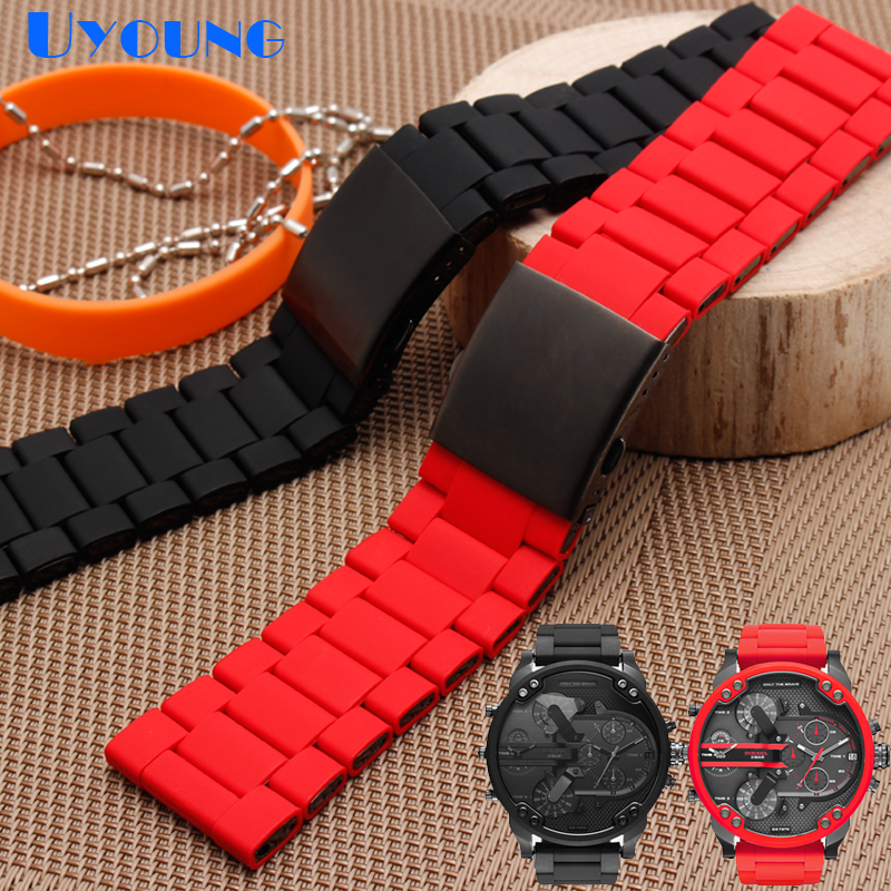 Image 4 - silicone rubber watch band mens waterproof for diesel watch strap bracelet band 28mm DZ7370 DZ7396 DZ428 stainless steel b-in Watchbands from Watches