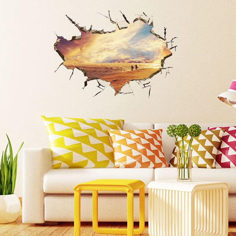 Outside broke wall Sea scenery art stickers blue Sky sailing Boat 3d ...