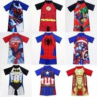 18 шаблонов, стильный цельный купальный костюм детская одежда для плавания с принтом «Капитан Америка» и «Человек-паук» для мальчиков крута...