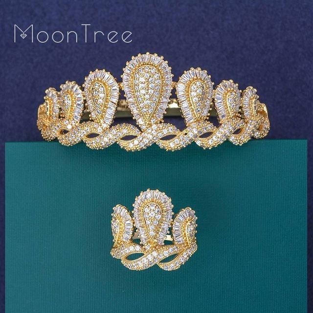 MoonTree יוקרה כתר יוקרה הניצוץ CZ זירקונים צמיד טבעת סט חתונת כלה דובאי עבור נשים